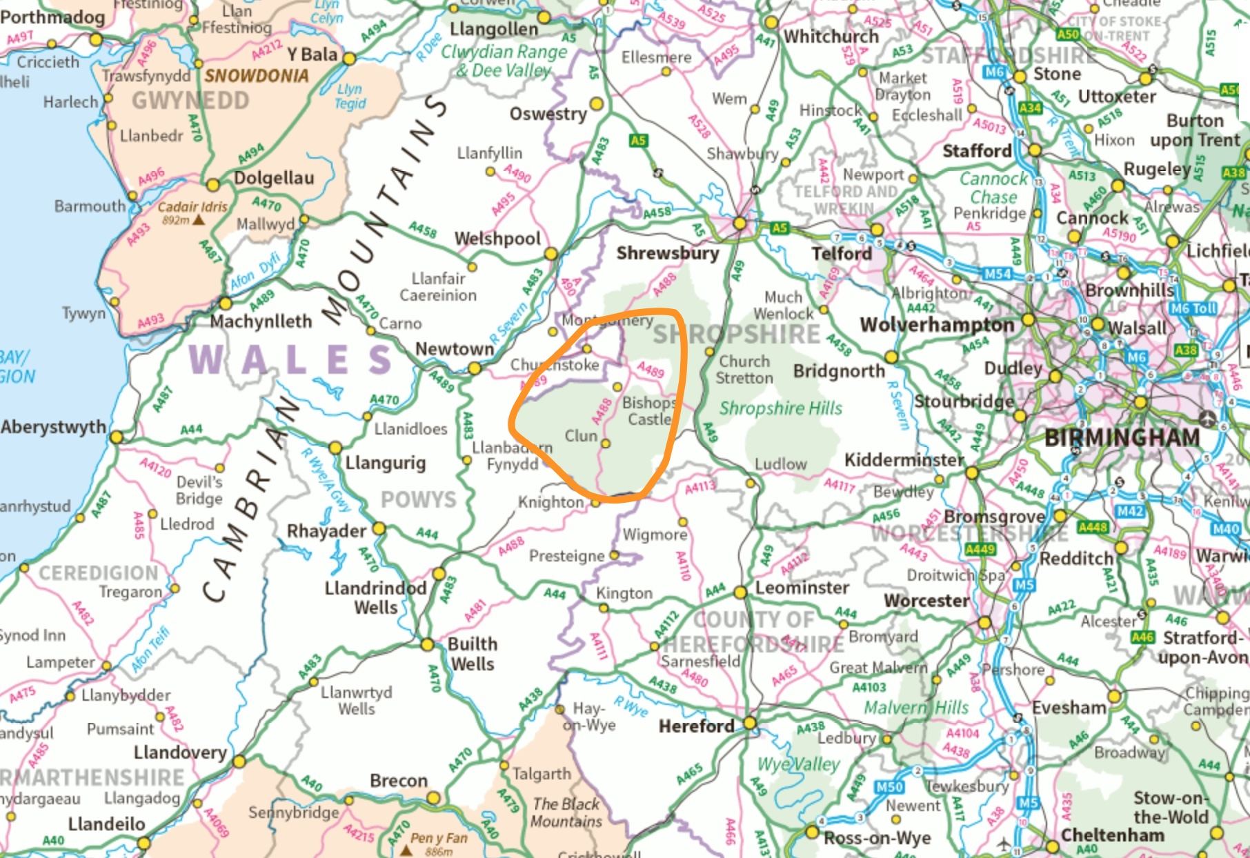 1. Area - Marked West Mids Mid Wales